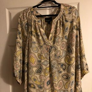 Pastel, plus size, printed paisley top